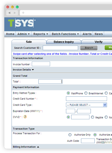 Entering a sale in TSYS WebPASS image